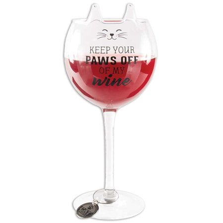 Pointy Ears (Paws Off Wine Glass 14 Ounce Stemware w/ Pointy Ears Whiskered Face &)