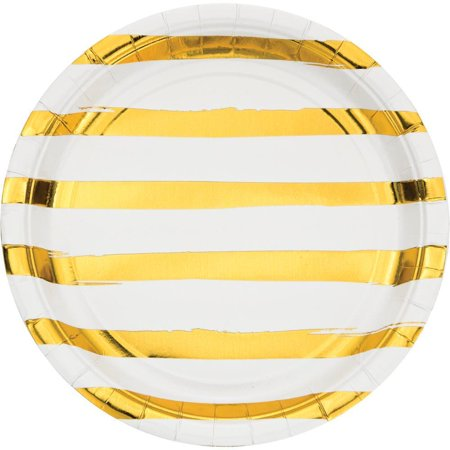 Gold Striped Paper (Creative Converting White And Gold Foil Striped Paper Plates, 8)