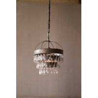 GwG Outlet Pendant Lamp with Layered Shade and Hanging Glass Gems CLL1233