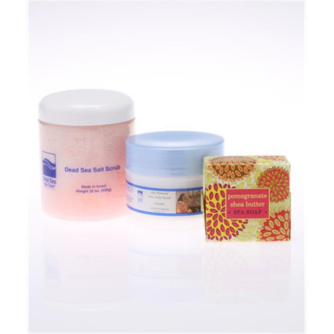 Dead Sea Spa Care DeadSea-204 32 oz Pomegranate Salt Scrub, 8 oz Serenity Shea Butter, 6.35 oz Pomegranate Shea Butter Soap