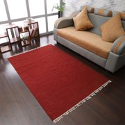 Rugsotic Carpets Hand Woven Flat Weave Kilim Wool 3'x5' Area Rug Solid Burgundy D00111