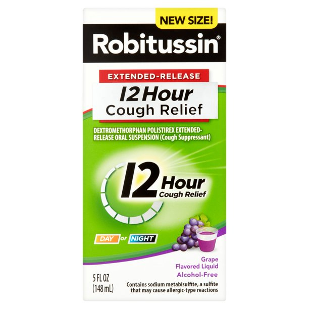Robitussin® Extended-Release 12 Hour Cough Relief Grape Flavored Liquid 5 fl. oz. Box