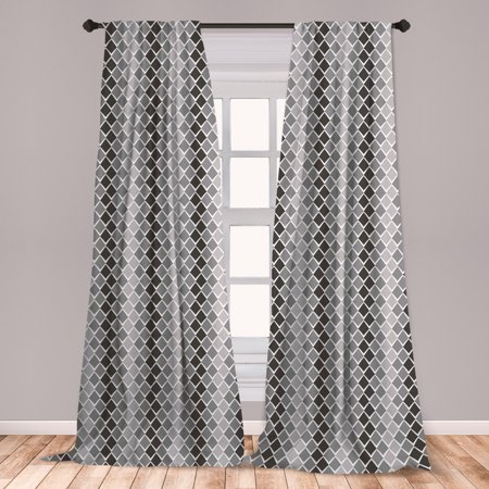 Grey and White Curtains 2 Panels Set, Uneven Geometrical Shapes with Zigzag Lines and Ombre Effect, Window Drapes for Living Room Bedroom, Charcoal Grey Pale Grey, by Ambesonne ()