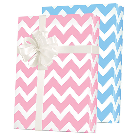 Blue White / Pink White Double-Sided Chevron Gift Wrap Wrapping Paper 15ft Roll - Chevron Paper