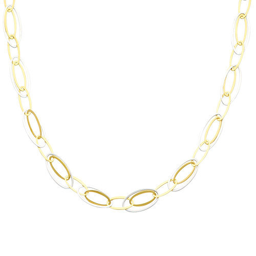Precious Stars 14K Solid Gold Two Tone Oval Link Necklace