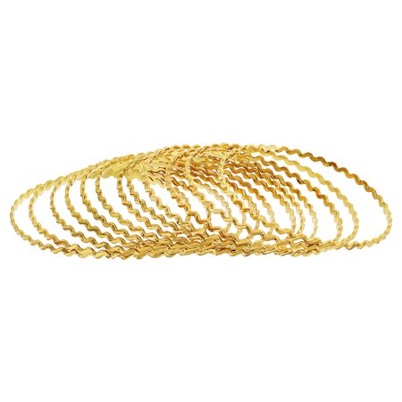 Gem Avenue Gold Plated Zig Zag Design Thin Bollywood Indian Bangle 3mm Bracelet Size 2.4 - 2.8 Set of 12