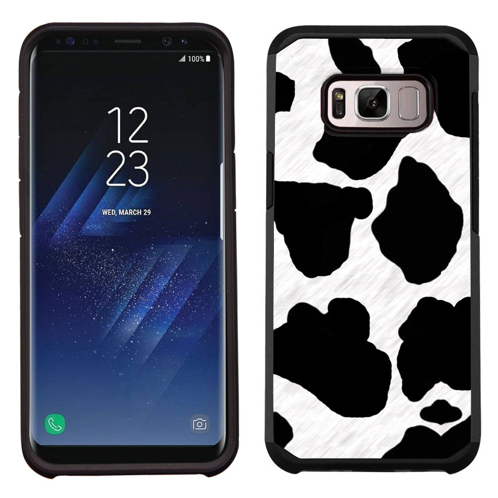 Hybrid Case for Samsung Galaxy S8 PLUS / S8+, OneToughShield ® Dual Layer Shock Absorbing Phone Case (Black/Black) - Cow Skin Design