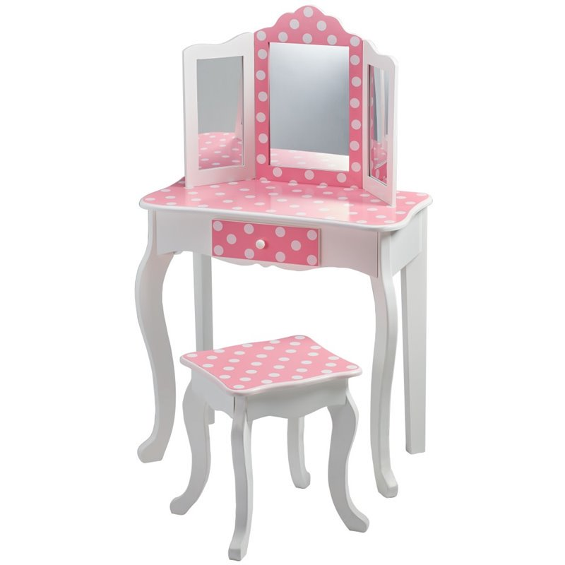 Teamson Kids - Fashion Polka Dot Prints Gisele Vanity Table & Stool Set - Pink / White