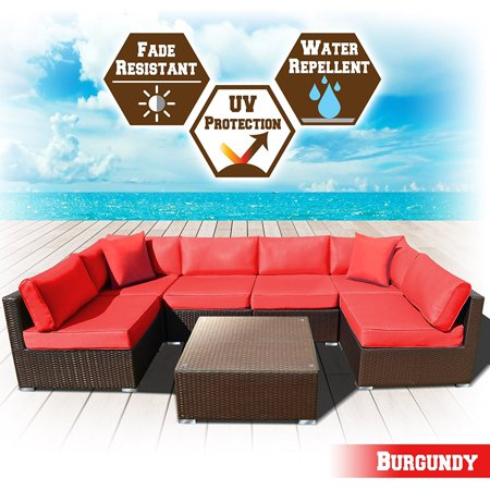 Strong Camel Rattan Wicker Patio Sectional Sofcushion Burgundy