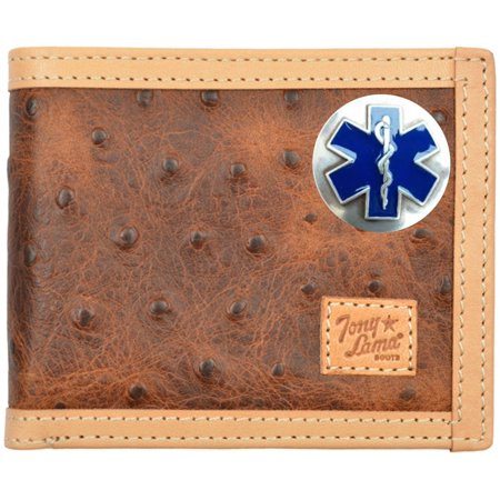 (Custom EMT, EMS, Cross of Life Ostrich Print leather bi-fold wallet)