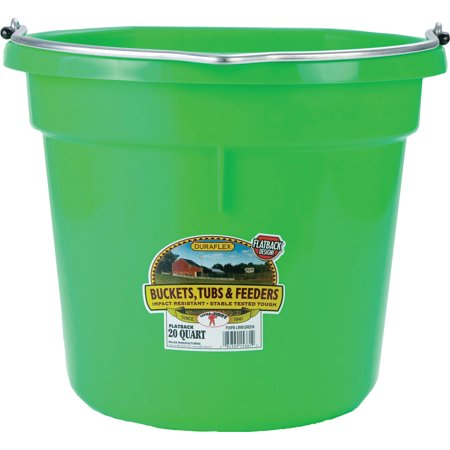 Miller Mfg Co Inc P-Little Giant Plastic Flat Back Bucket- Lime Green 20 Quart