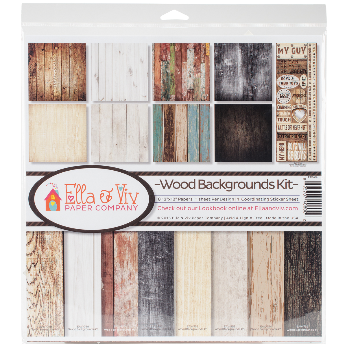 "Ella & Viv Collection Kit 12"" x 12"" - Wood Backgrounds"