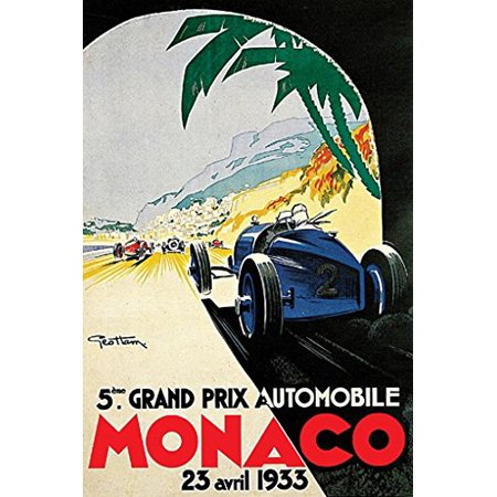 - Grand Prix De Monaco Poster 1933 French Vintage Car Racing New 24x36