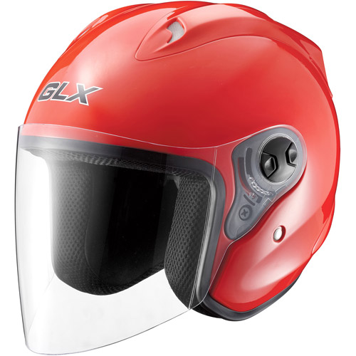 GLX DOT Open Face Motorcycle Helmet, Red, L
