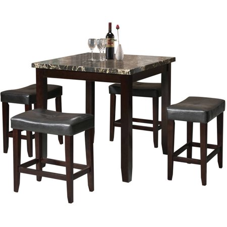 Acme Ainsley 5 Piece Counter Height Dining Set Black Faux Marble And Espress