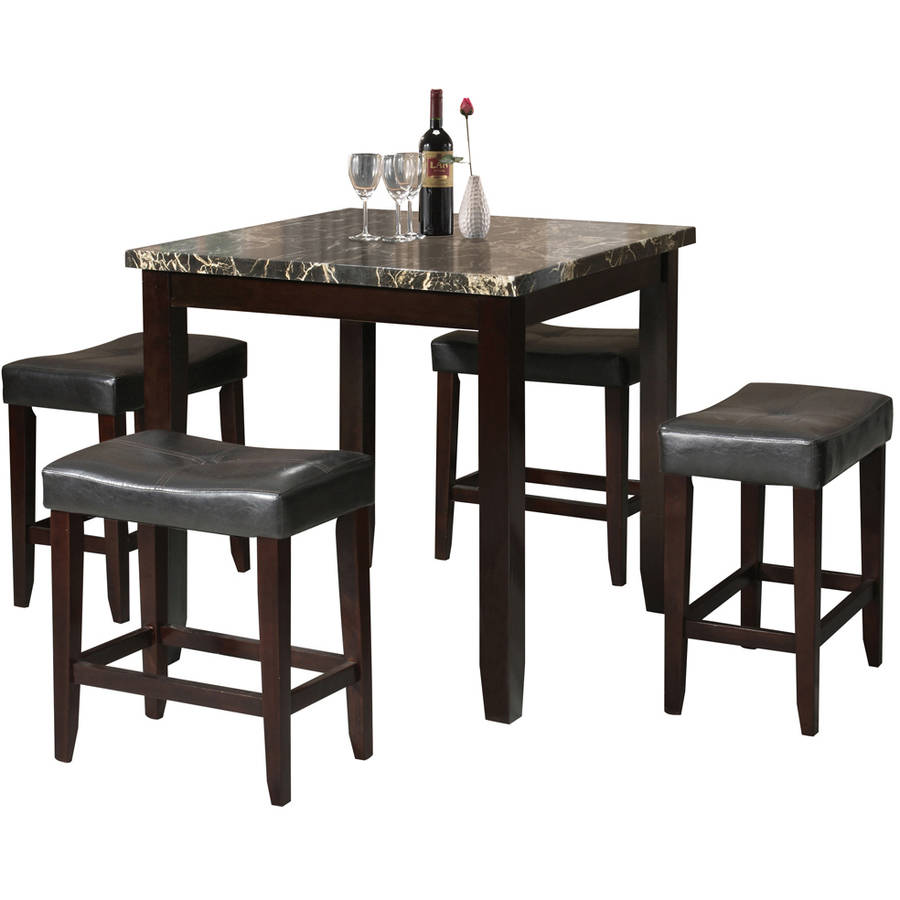 Acme Ainsley 5 Piece Counter Height Dining Set, Black Faux Marble And  Espresso