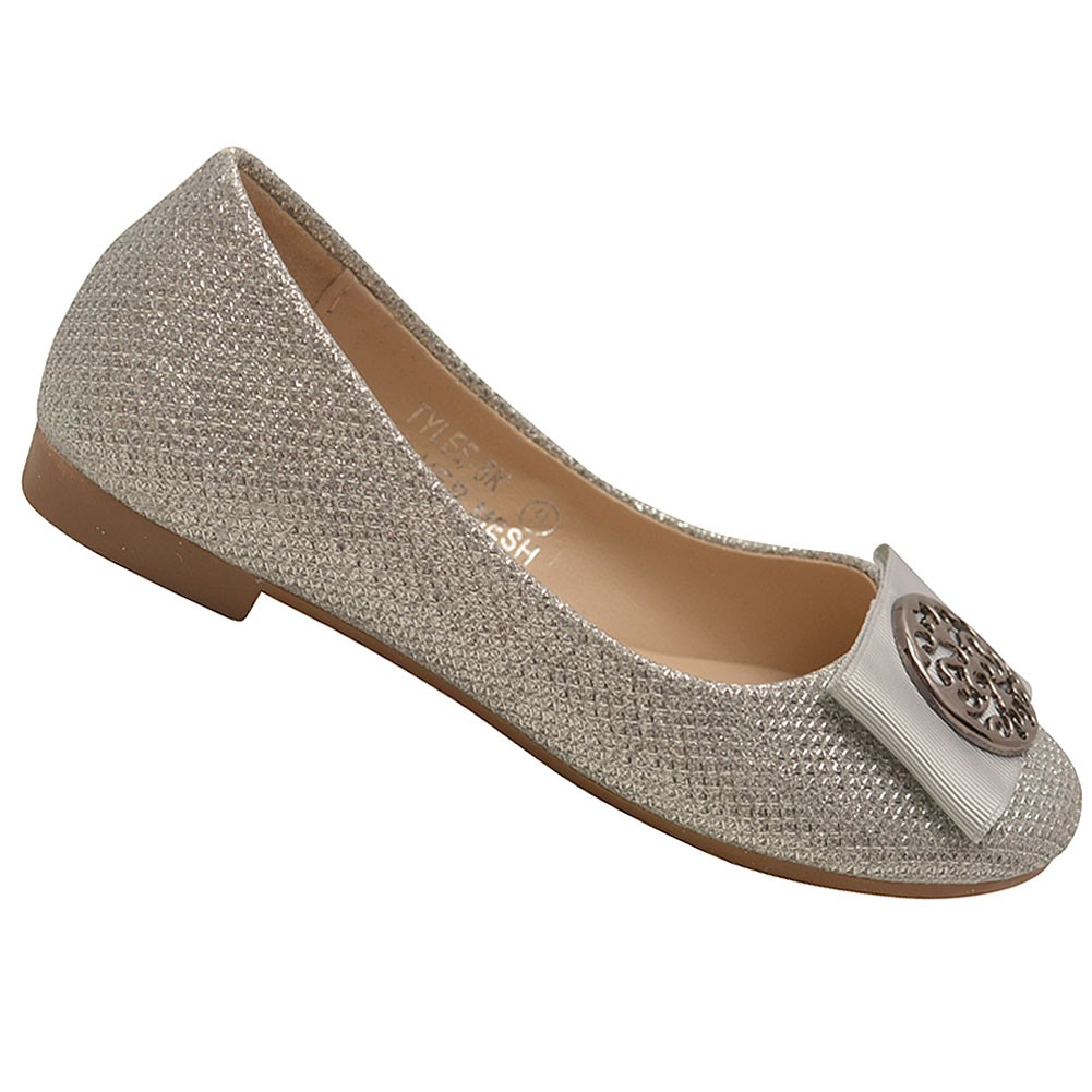 Bella Marie Girls Silver Glitter Bow Brooch Attached Slip On Flats 11 Kids