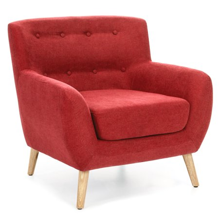 Best choice products mid century modern linen upholstered - Modern upholstered living room chairs ...