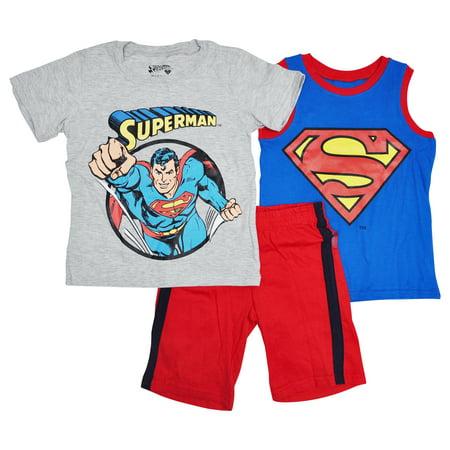 Superman Boys T-Shirt Tank Top Shorts Outfit 3-Piece Set - Boys Superman Outfit