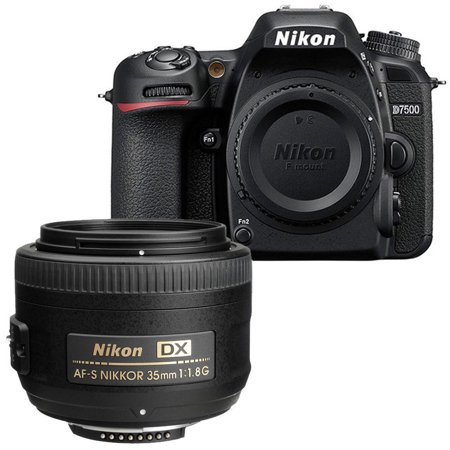 Nikon D7500 DX-format Digital SLR Portrait and 35 1.8G  Prime Lens