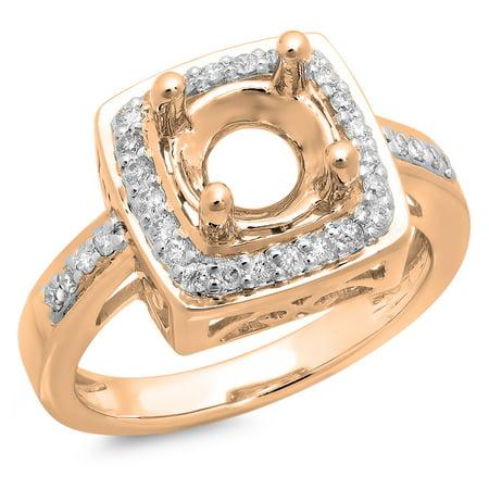 0.30 Carat (ctw) 18K Rose Gold Round Cut White Diamond Ladies Bridal Semi Mount Engagement Ring 1/3 CT (No Center Stone)
