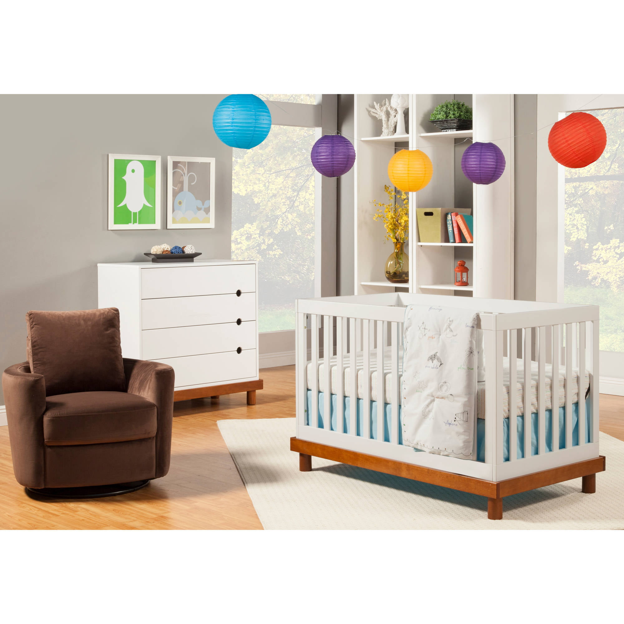 baby mod olivia 3-in-1 crib white and cherry - walmart