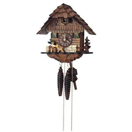 Cuckoo Clock 1 Day Chalet - Anton Schneider 10 Inch Chalet with Animated Beer Drinker Black Forest Cuckoo Clock