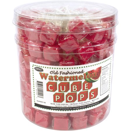 Espeez Old Fashioned Watermelon Cube Pops, 100 count, 74 oz - Watermelon Suckers