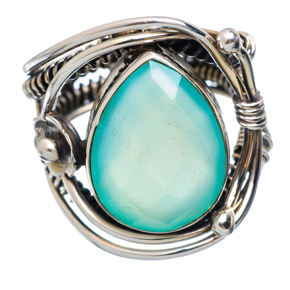 Ana Silver Co Aqua Chalcedony Flower 925 Sterling Silver Ring Size 7.75 Handmade Jewelry RING854174 by Ana Silver Co.