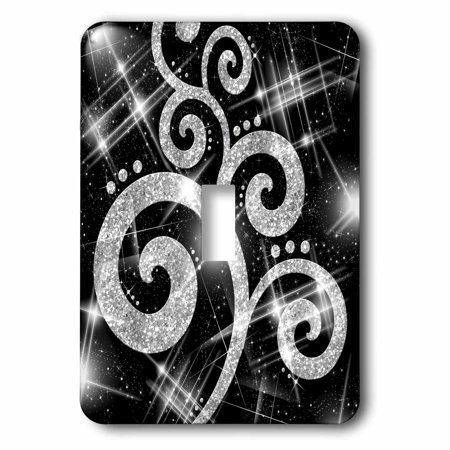 3dRose Silver Glitter Swirls And Dots - Single Toggle Switch (lsp_35709_1)