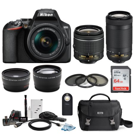 Nikon D3500 DSLR Camera with AF-P 18-55mm VR and 70-300mm Lenses and 64GB Bundle
