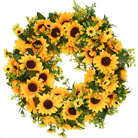 Light Yellow Forsythia Wreath - Coolmade Artificial Sunflower Summer Wreath - 16 Inch Decorative Fake Flower Wreath with Yellow Sunflower and Green Leaves for Front Door Indoor Wall Décor