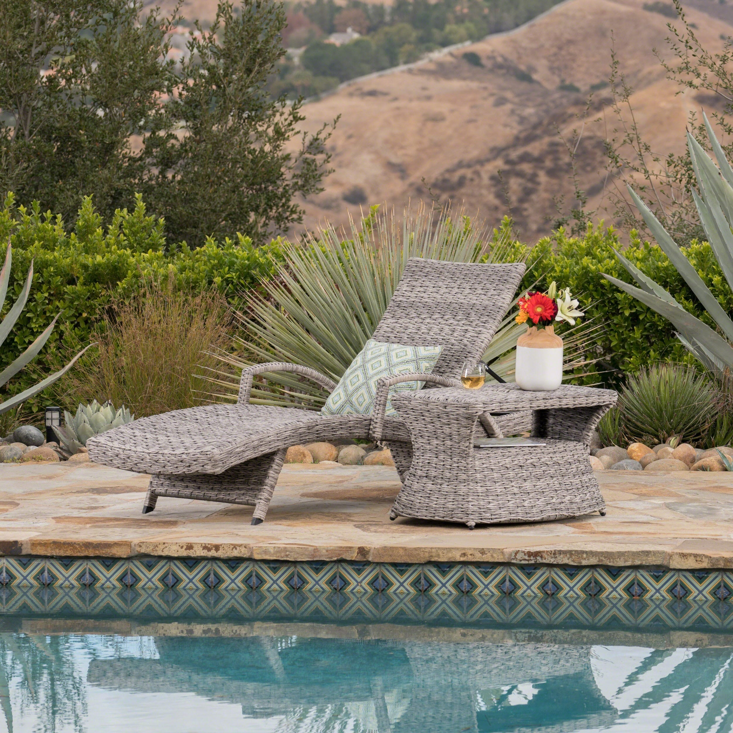 Christopher Knight Home Crete Outdoor 2-piece Armed Aluminum Wicker Chaise Lounge Set by