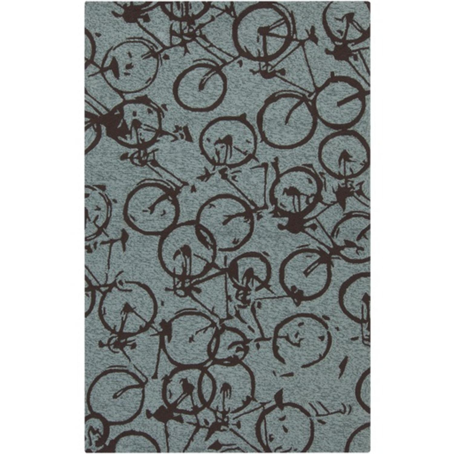 9' x 12' On The Go Bicycle Mossy Green and Espresso Brown Hand Hooked Area Throw Rug