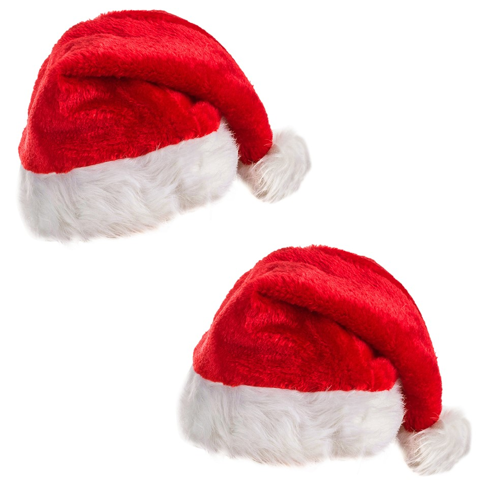 """~Set of 4 Brand New 21/"""" x 20 Red Santa Hat Christmas Chair Covers"""
