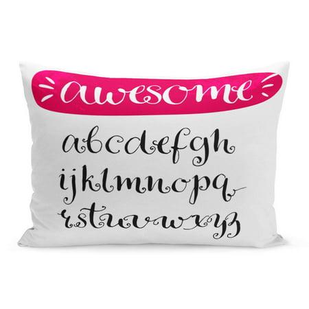 ECCOT Fancy Pink Cursive Curly Alphabet Swirls Artistic Letters ABC Pillowcase Pillow Cover Cushion Case 20x30 (Swirl Letter)
