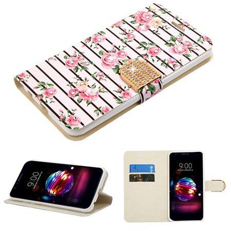 Phone Case for LG K10 (2018), K30 (X410), Premier Pro (L413DL) - Diamante Bling Jacket Flip Wallet Case Cover Stand Pouch Book Magnetic Buckle Fresh Pink Roses
