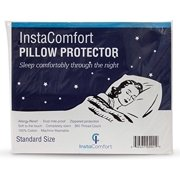 InstaComfort Allergy Pillow Covers Super Soft 100% Cotton Cases Hypoallergenic Pillowcase - Completely Silent Dust Mite Proof Protector - Standard Size Zippered Cover Holiday Gift
