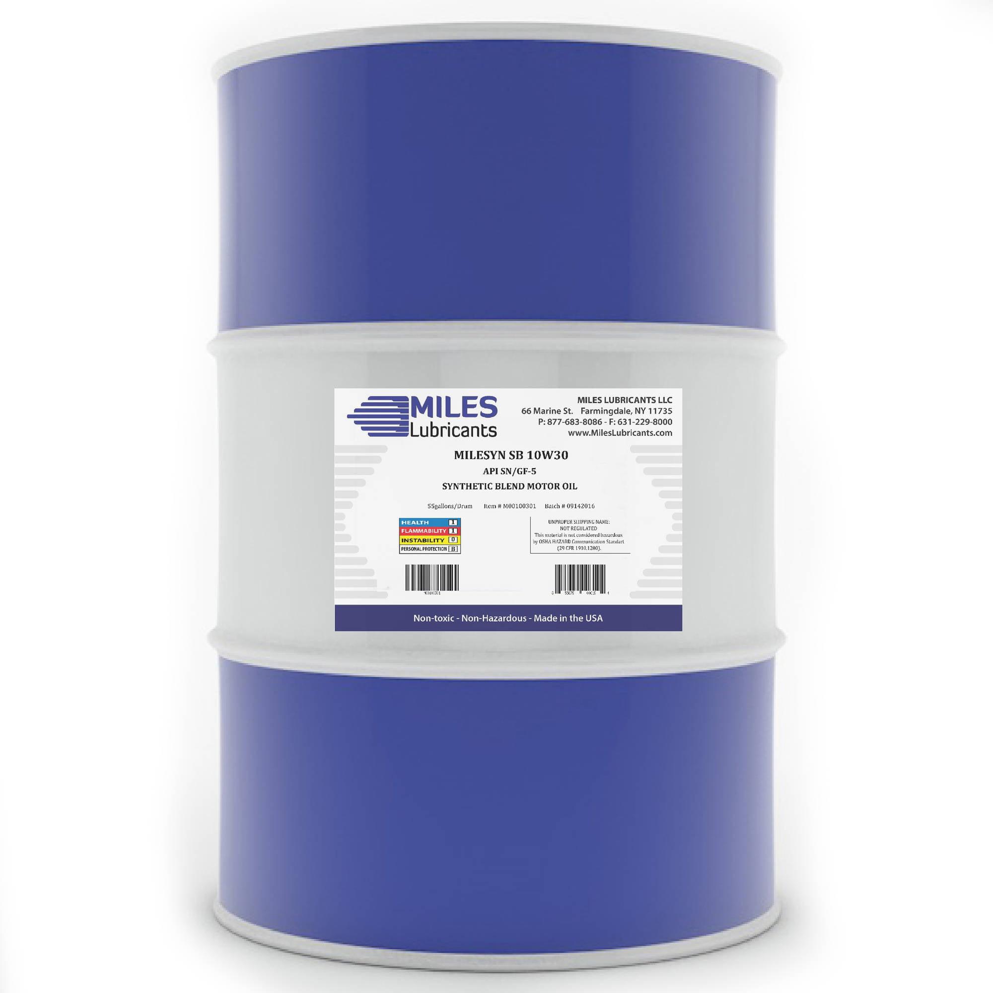 Milesyn SB 10W30 API GF-5/SN, Synthetic Blend Motor Oil 55-Gallon Drum