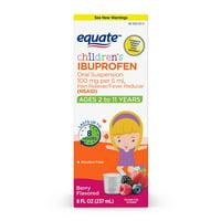 Equate Children's Ibuprofen Berry Suspension, 100 mg, 8 Fl Oz