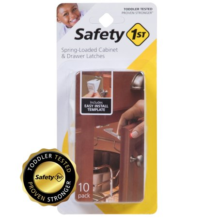Safety 1st Spring-Loaded Cabinet & Drawer Latch (10pk), (Best Drawer Latches Baby Proofing)