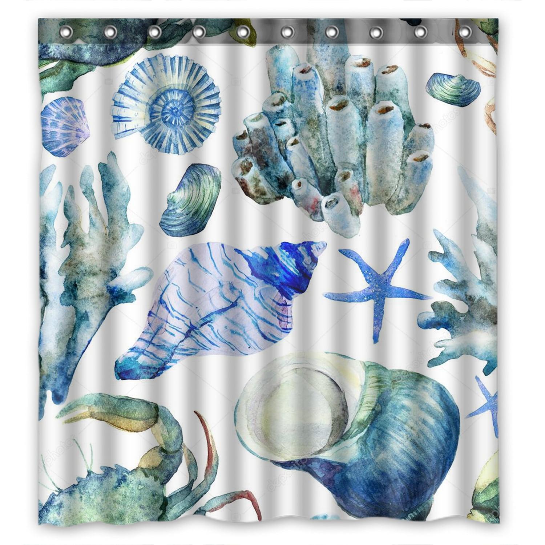 YKCG Sea Ocean Watercolor Seashell Coral Crab Waterproof