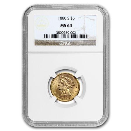 1880-S $5 Liberty Gold Half Eagle MS-64 NGC