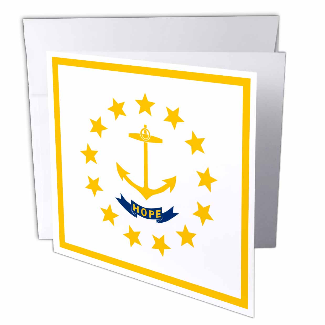 3dRose Flag of Rhode Island RI - US American United State of America USA - Yellow anchor Hope on white, Greeting Cards, 6 x 6 inches, set of 12