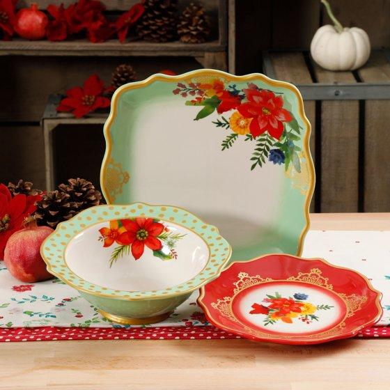 The Pioneer Woman Winter Bouquet 12-Piece Dinnerware Set ...