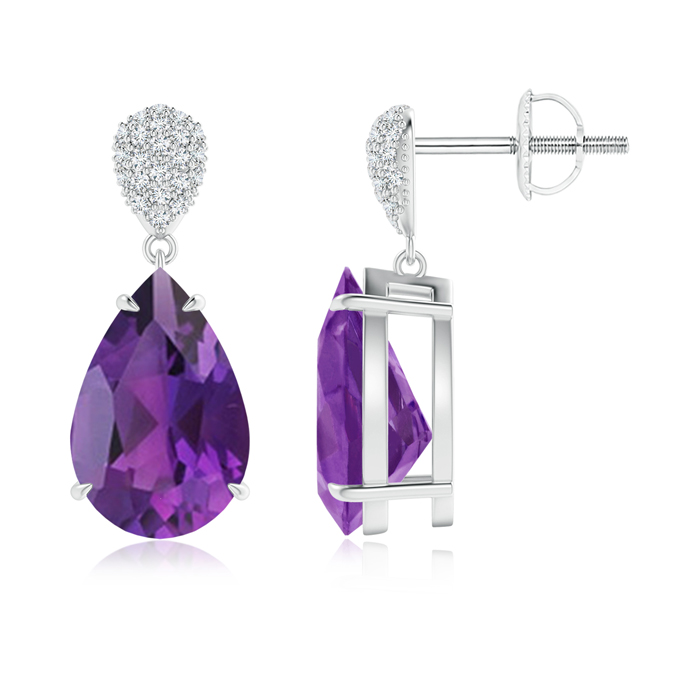 Angara Drop Amethyst and Diamond Earrings in Platinum MimMeXgHS