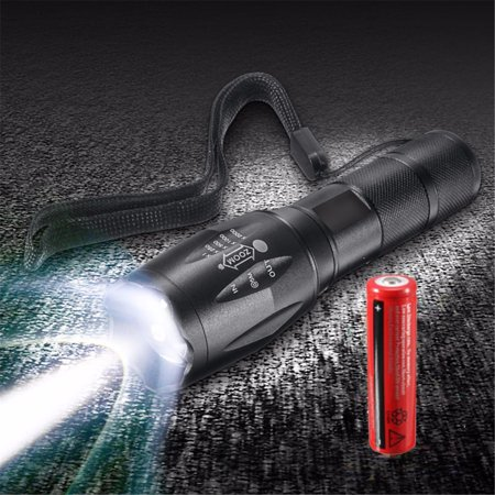 - Elfeland 2000 Lumens 8W T6 LED Zoomable Flashlight Torch Super Bright + 18650 Rechargeable Battery For Camping Fishing