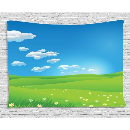 Wall Cloud Images (Landscape Tapestry, Cartoon Scenery Clouds Valley Hills Grass Sunbeams Flowers Artprint Image, Wall Hanging for Bedroom Living Room Dorm Decor, 80W X 60L Inches, Blue White Green, by Ambesonne )