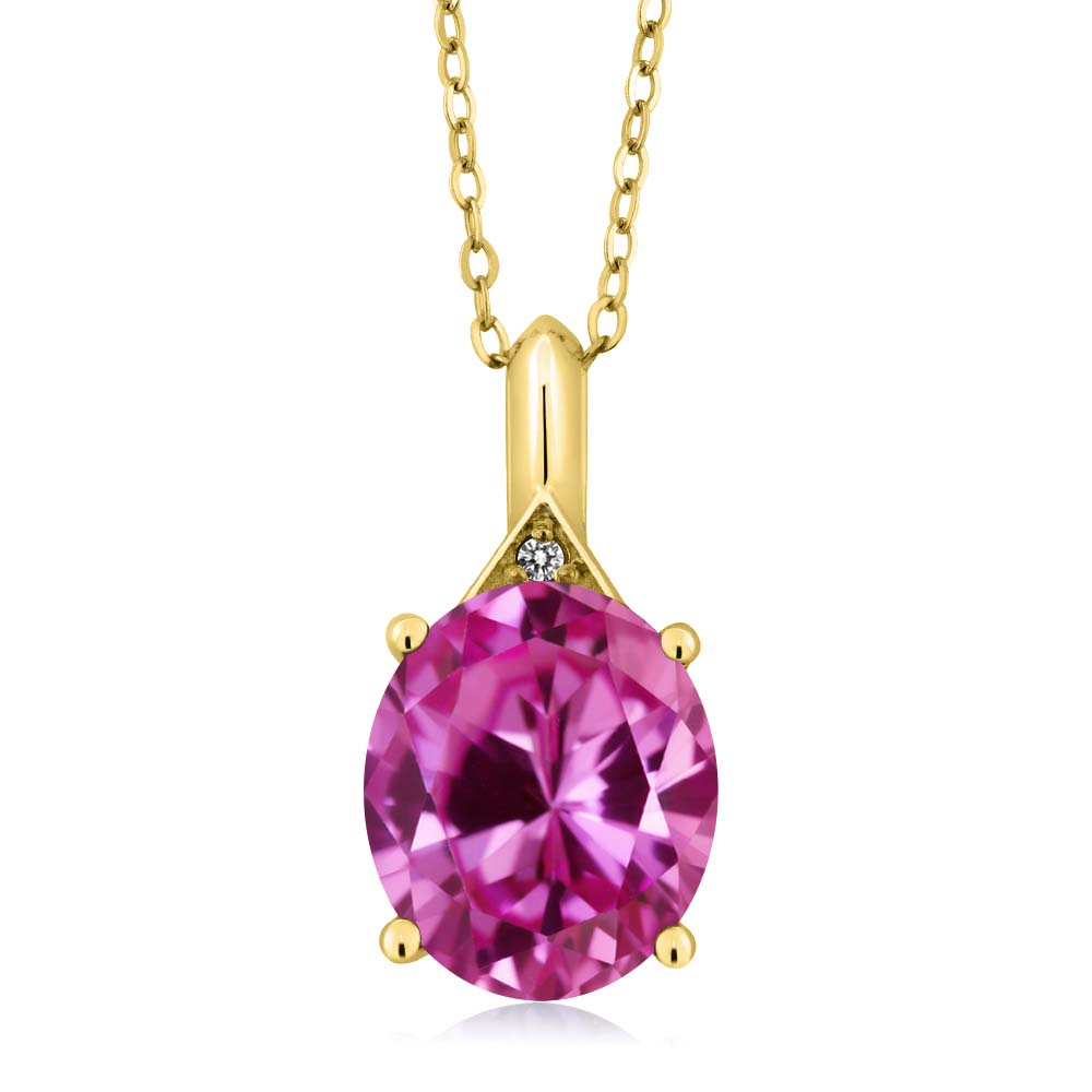 6.02 Ct Oval Pink Created Sapphire White Diamond 18K Yellow Gold Pendant by