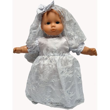 Wedding Dress With Veil Has Silver Flowers And Fits 15-16 Inch Baby Dolls - Flowers And Veil